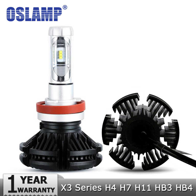 Oslamp X3 Series 50W H4 LED Car Headlight Bulbs 6000lm H7 Auto Headlamp H11 LED Car Bulb 12V 3000K/6500K/8000K 9005/HB3 9006/HB4