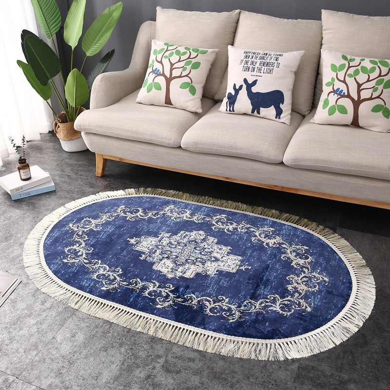 Oval Soft Carpets For Living Room Bedroom Kid Room Rugs Home Carpets Floor Door Mat Simple Tassel Area Rugs Delicate European