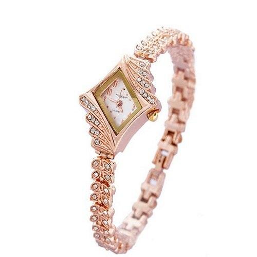d208ba5b128 Luxo rosa de ouro pulseira de relógio das Senhoras Das mulheres Strass  Cristal Vestido de relógios