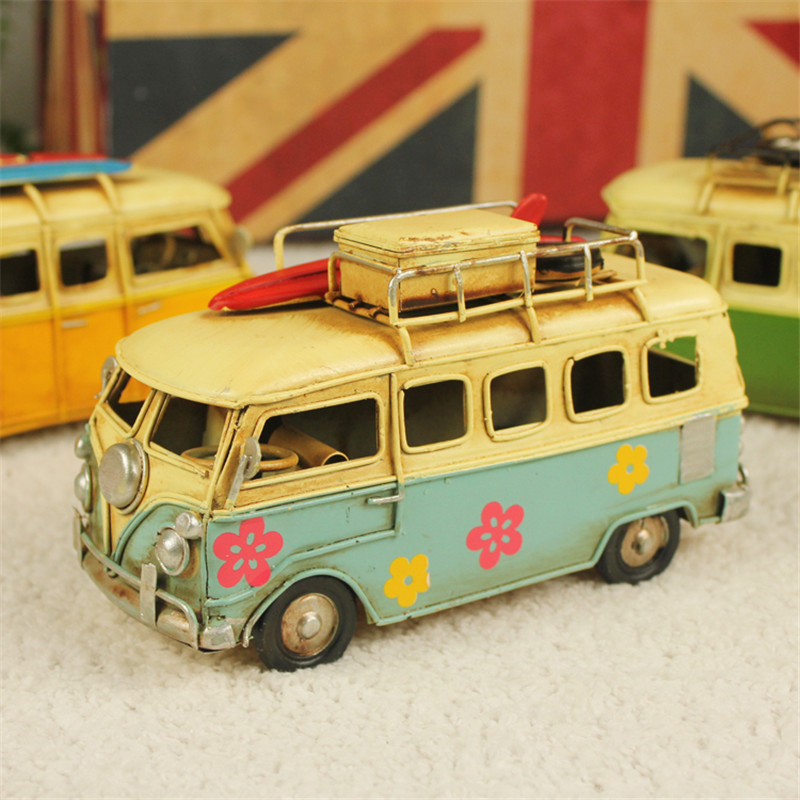 Mini Car Model Toys Retro Classic Car Camping Bus Iron Ornaments Home Coffee Shop Wedding Decorations Gifts High Quality