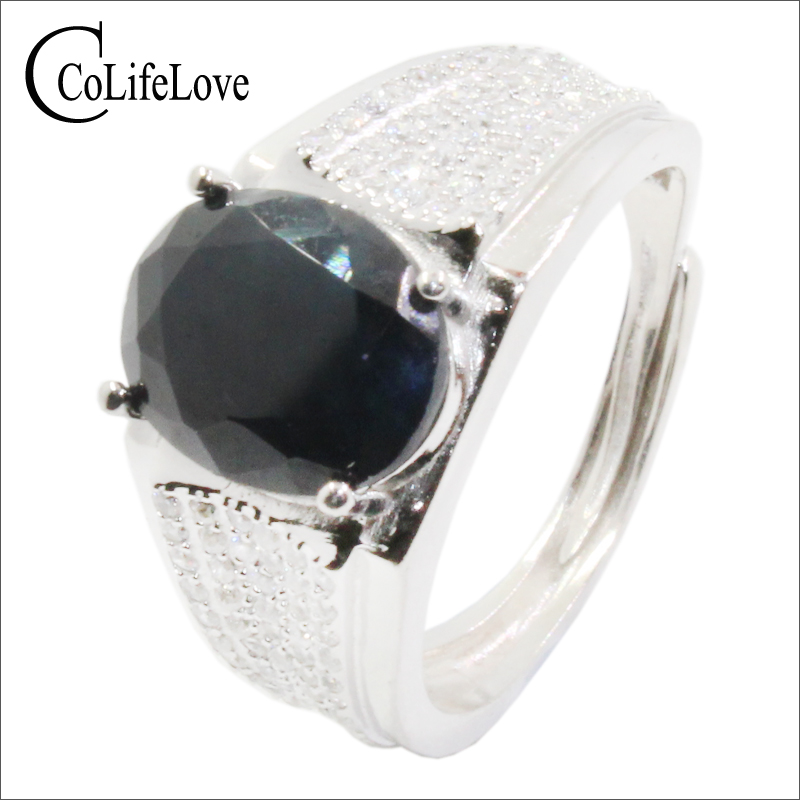 CoLife Jewelry Natural Black Sapphire Ring for Man 8mm*10mm 3ct Sapphire Man Ring Classic 925 Silver Sapphire Jewelry for ManCoLife Jewelry Natural Black Sapphire Ring for Man 8mm*10mm 3ct Sapphire Man Ring Classic 925 Silver Sapphire Jewelry for Man