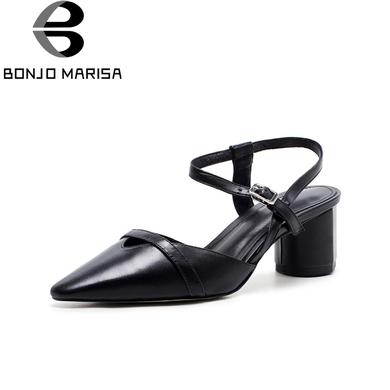 BONJOMARISA New women's Genuine Leather Buckle Strap Square Med Heels Pointed Toe Shoes Woman Casual Summer Sandals Size 34-39 smirnova 2018 summer new shoes woman pointed toe fashion rivet sandals women genuine leather med heels shoes square heel