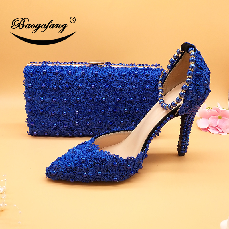 White Lace Flower Wedding Shoes With Matching Bags High Heels Pointed Toe Ankle Strap Ladies Party Shoe And Bag Set Pearl Shoe
