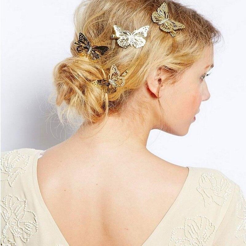 3 6Pcs Shining Metal Hair Clips Golden Butterflies Hairpins Grips Barrette Clamps For Wedding Hair Pins Girls Hair Accessories in Women 39 s Hair Accessories from Apparel Accessories