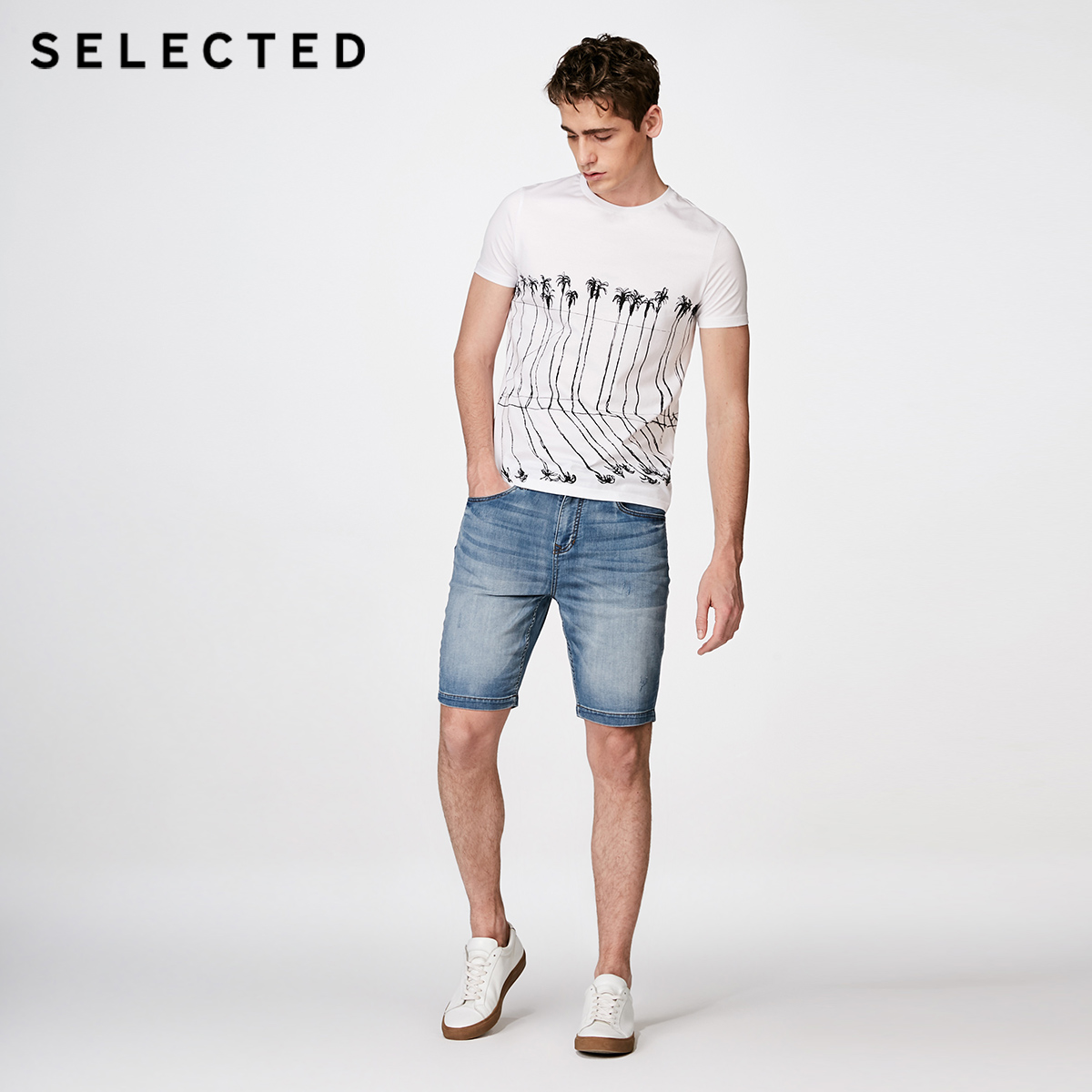 SELECTED 2019 Spring amp Summer Men Fashion T Shirt White Regular Fit Cotton Printed Short sleeved T shirt Men 4182T4560 in T Shirts from Men 39 s Clothing