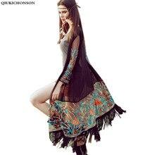 Цветочная вышивка кимоно Бохо длинный кардиган Лето милый тонкий длинный рукав белый/черный кисточкой бахромой Женский шифон кардиган
