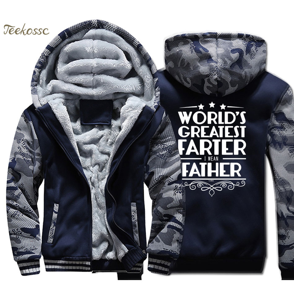 World 's Greatest Farter Hoodie Men Letters Printed Hooded Sweatshirt Coat 2018 Winter Thick Fleece Warm Jacket For Father Gifts
