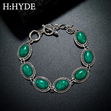 H:HYDE Vintage Tibetan Silver Green Natural Turquoises Stone Bracelet Homme Femme Charms Beads Bracelets Women Jewelry
