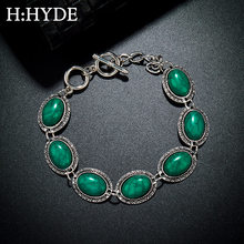 H:HYDE Vintage Tibetan Silver Green Natural Turquoises Stone Bracelet Homme Femme Charms Beads Bracelets Women Jewelry(China)