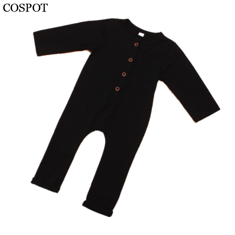 2017 New Fashion Baby Boys Rompers Newborn Cotton Long Sleeve Jumpsuit Boy Autumn Spring Plain Black Gray Clothes 30C baby rompers 2016 spring autumn style overalls star printing cotton newborn baby boys girls clothes long sleeve hooded outfits