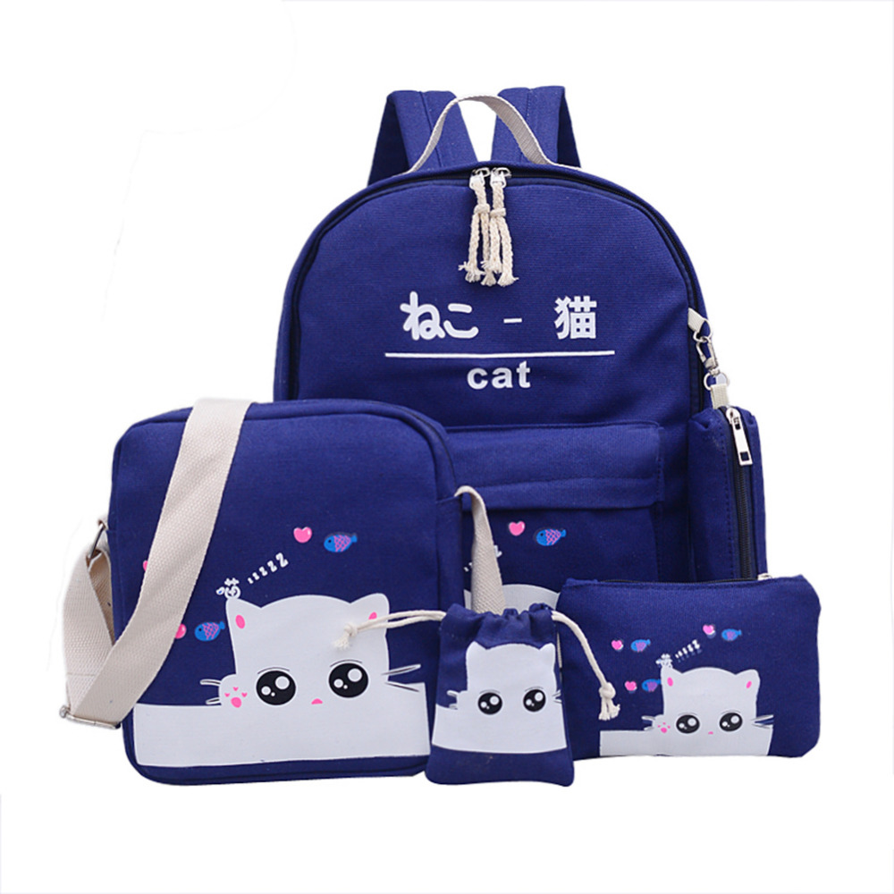 5pcs/set Cat Backpacks For Teenage Girls School Bags Student Drawings Lovely Canvas Kitty Printing Cute Pencil Case Bag Bolsas