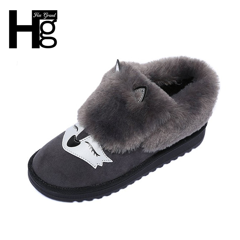 HEE GRAND Winter Snow Boots Black Grey Cute Fox Animal Faux Fur Plush Warm Soft Insole Thick Bottom Women's Shoes XWX6176  2017 new women snow boots winter fox fur boots suede leisure shoes thick warm short boots plush girls fashion boots black brown