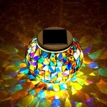 RGB Table Night Light Solar Light Powered Mosaic Glass Ball Garden Lights Waterproof Outdoor Solar Lawn Light For Garden Party
