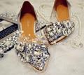 Мода серебряный кристалл люкс свадебные туфли леди плоским пятки обувь выпускной ну вечеринку выпускного вечера обувь весна лето красивые туфли