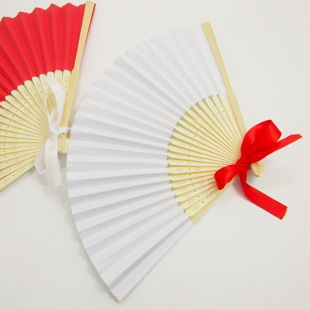 Free shipping 530pcs White Paper Hand Fan with 1.5*50 cm ribbon and ...
