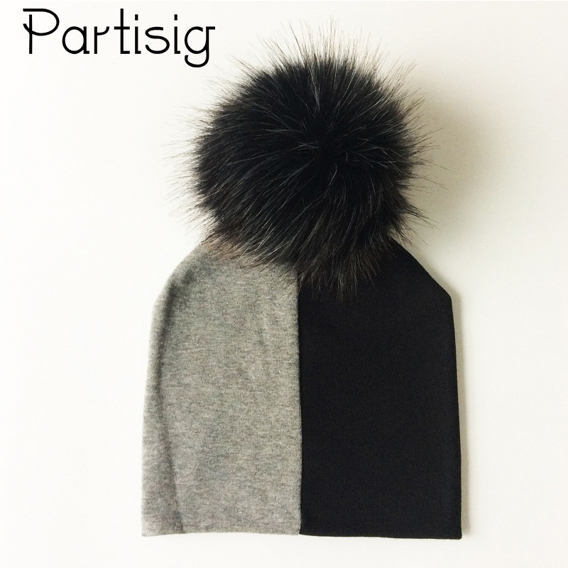 Baby Hats Cotton Patchwork Pompom Hat For Boys And Girls Winter Cap With Pompom Faux Fur Kids Caps Children's Hats Caps qiumei winter women fur bomber hats real raccoon fur brown wine trapper hats caps pompom male russian bomber hat genuine fur