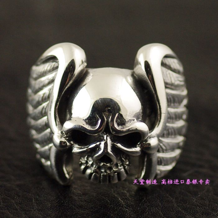 925 pure silver demon wings thai silver ring skull