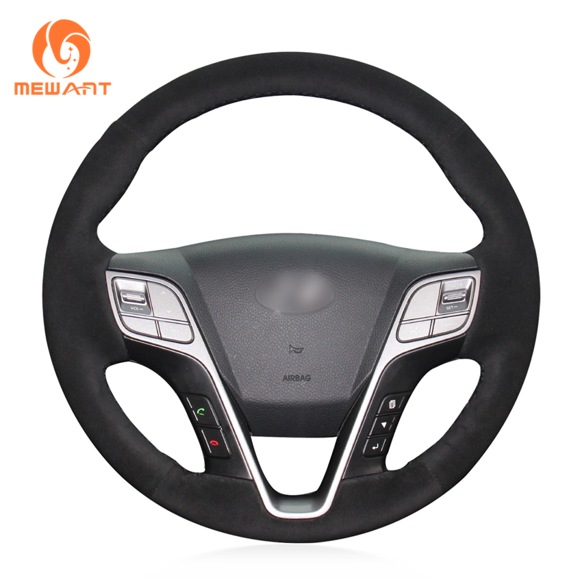 MEWANT Hand-stitched Black Suede Car Steering Wheel Cover for Hyundai Santa Fe 2013-2018 ix45 2013 2014 2015 2016 high quality stainless steel car side door body protector molding cover trim for hyundai santa fe ix45 2013 2014 2015 2016 2017
