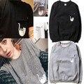 2016 otoño invierno calidad camiseta de algodón de las mujeres/hombres hoodies patchwork Medio dedo cat imprimir manga larga T-shirt gusano