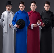 Long Sleeve Chinese Traditional Clothing Tang Suit Mandarin Collar  minister long gown robe traditional Chinese Long robe