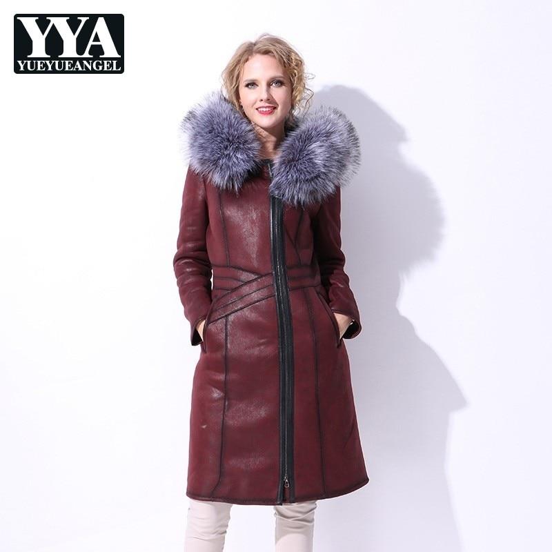Длинное двустороннее меховое пальто с длинным рукавом женское 2019 зимнее Новое теплое пальто женское плюс Размер 7XL с меховой отделкой капюш