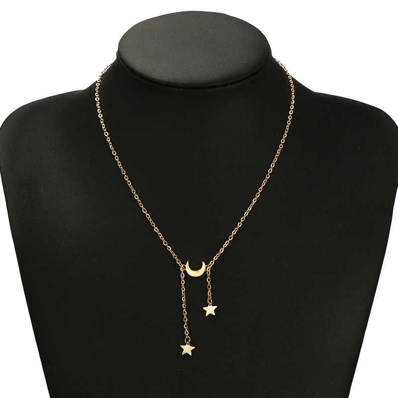 2018 nowy Boho złoty srebrny gwiazda księżyc warstwowe naszyjnik łańcuszkowy dla kobiet prezent długie naszyjniki z wisiorkiem czeski biżuteria obroże