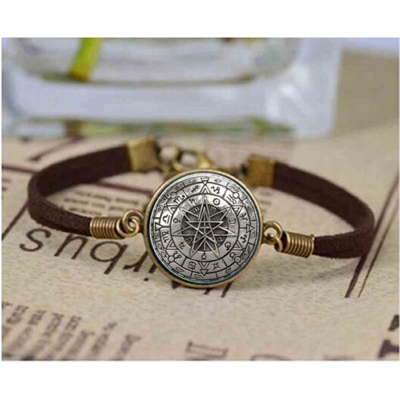 Us 1 43 40 Off Whole Gl Dome Zodiac Wicca Bracelet Pentagram Wiccan Jewelry Charm Bangle In Bracelets From Accessories On