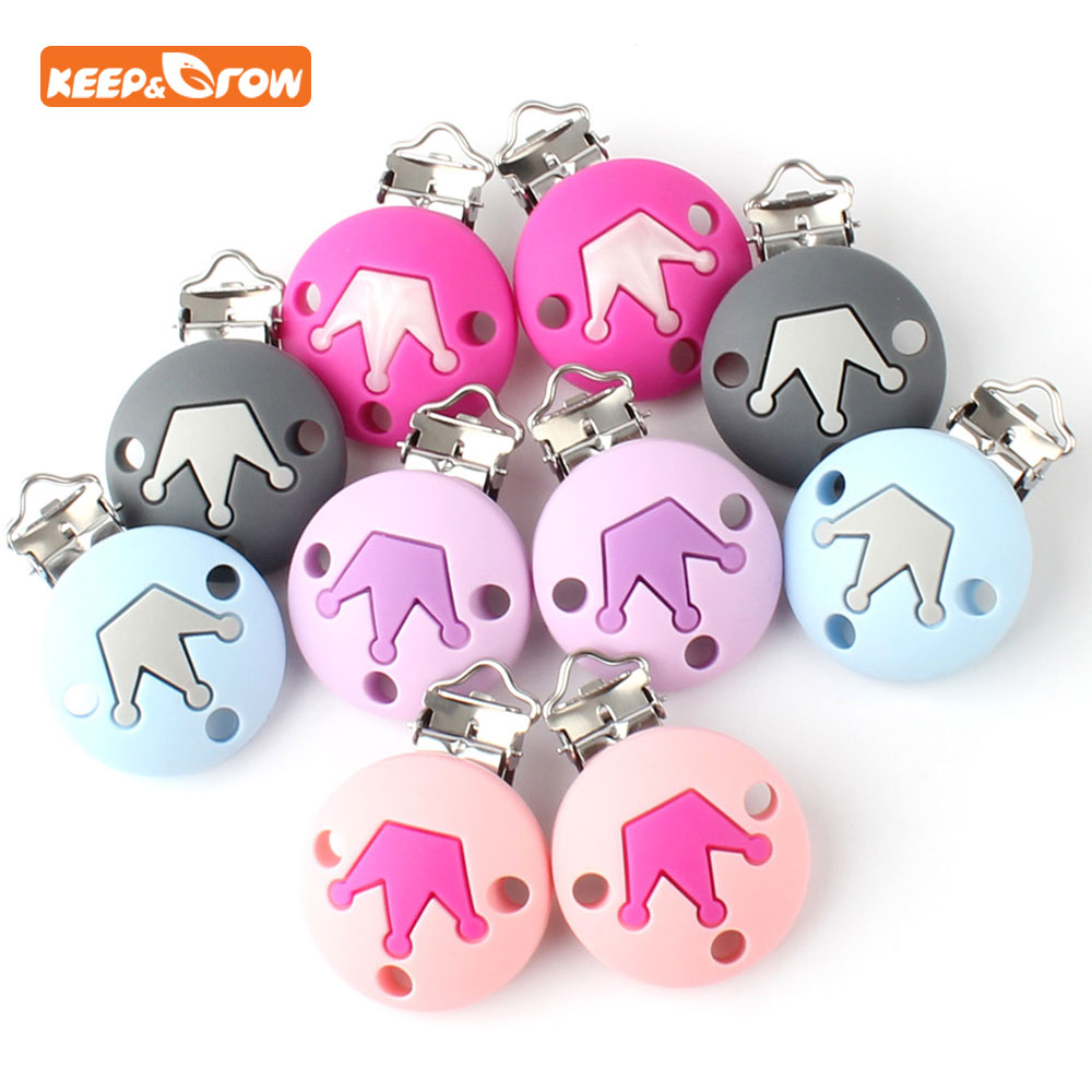 Keep&grow 5pcs/lot Silicone Pacifier Clip Round Pacifier Clip Silicone Baby Teether Accessories Pacifier Holder Clip DIY Tool