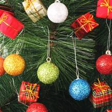 12pcs Christmas Baubles Glitter Chic Round Christmas Balls Ornament New Year Christmas Tree Decorations
