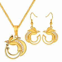 Birds of Paradise Necklace&Dangle Earrings Set Gold Color Australia/Indonesia/Papua New Guinea Bowerbirds Jewelry Set PE2898K(China)