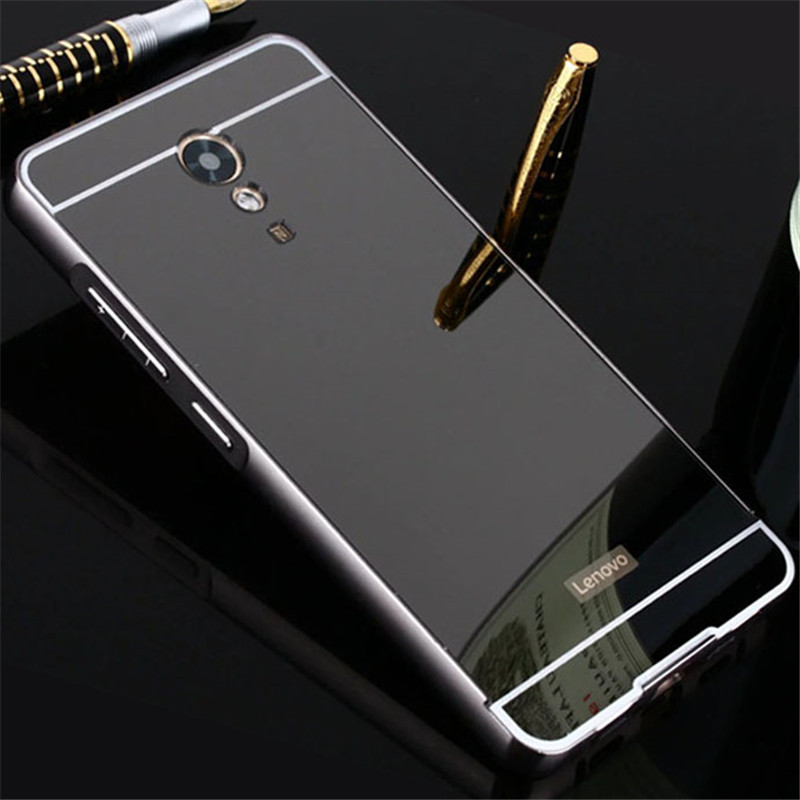 For Lenovo P2 Case P2a42 5.5 Plating Mirror Aluminum Metal Bumper Acrylic PC Back Cover For Lenovo Vibe P2 Case Phone Cases Para