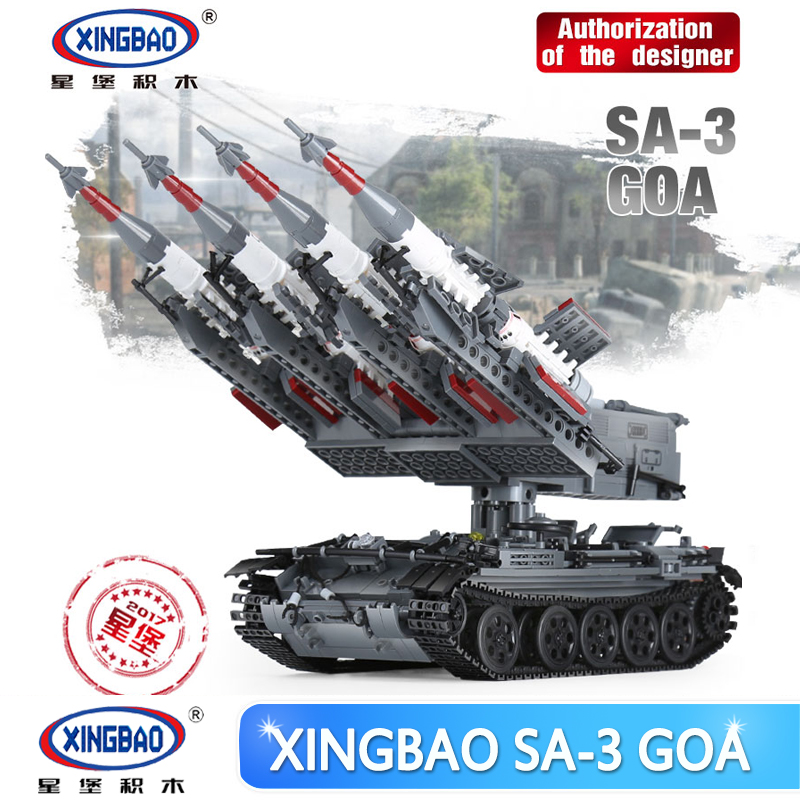 Xingbao 06004 1753Pcs Military Series The SA-3 missile and T55 Tank Set Children Educational Building Blocks Bricks Toys Gifts enlighten military series missile cruiser building blocks sets 843pcs educational construction bricks diy toys for children 821