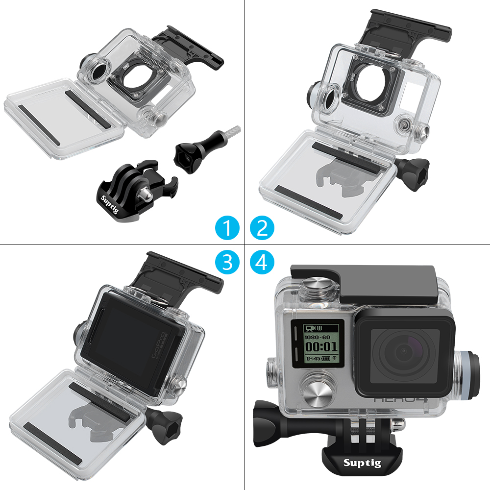 Accessores For GoPro 4 3+ 3 Underwater Diving Charging Waterproof Case For Gopro Hero 4 Hero 3+3 Motocycle Charge Shell Box