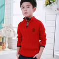 Fashion 2016 Autumn New Boys Knitwear Children Sweater With Open Buckle Coat Shirt Fake Two Sweaters Free Shipping