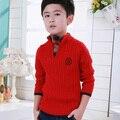 Moda 2016 Otoño Nuevos Muchachos Camisa de la Capa Prendas de Punto Suéter de Los Niños Con Hebilla Abierta Falsos Dos Suéteres Envío Gratuito