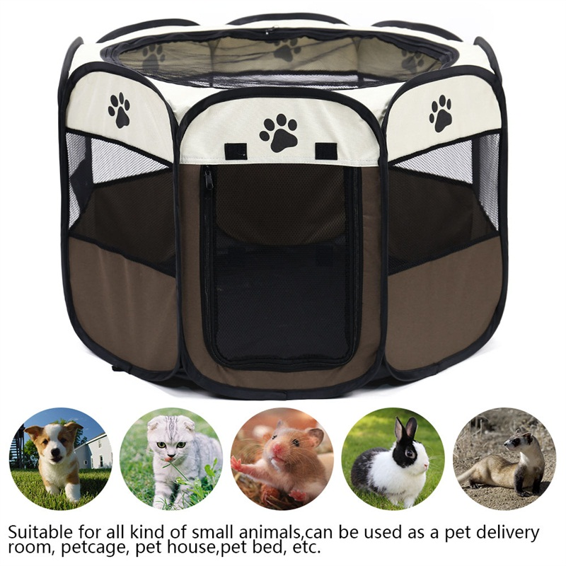 Portable Folding Pet Carrier Tent Dog House Playpen Multi functionable Cage Dog Easy Operation Octagon Fence