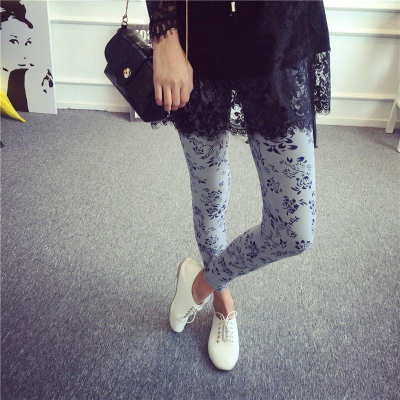 BIVIGAOS Spring Summer Womens Fashion Black Milk Thin Stretch leggings Colored Stars Graffiti Slim Skinny Leggings Pants Female 75