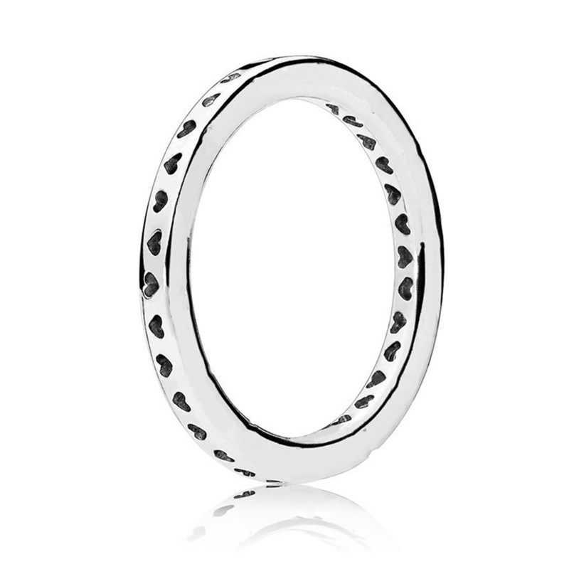 Trendy 100% Authentic 925 Sterling Silver Fashion Signature Hearts Ring For Women Wedding Engagement Gift Fine Europe Jewelry