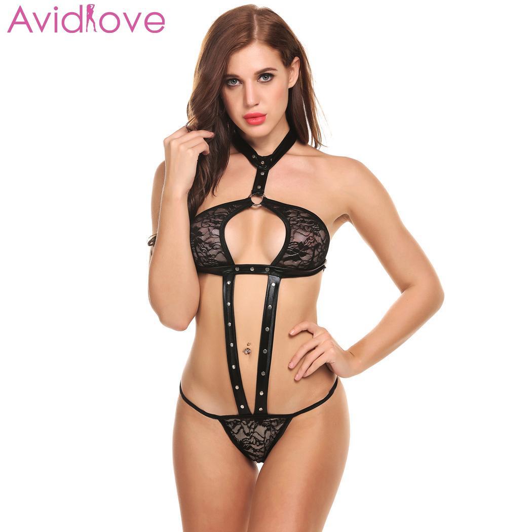 Buy Avidlove Women Bodystocking Bodysuit Body Suit Sexy Lingerie Nightwear One Piece Teddies Rivet Sexy Halter Backless