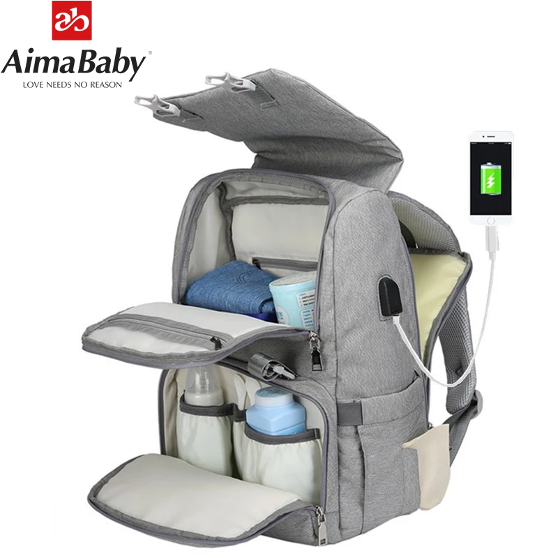 Baby Diaper Bag With USB Interface Large baby nappy changing Bag Mummy Maternity Travel Backpack for