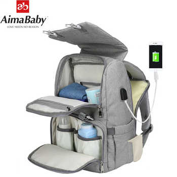 Baby Diaper Bag With USB Interface Large baby nappy changing Bag Mummy Maternity Travel Backpack for mom Nursing bags - DISCOUNT ITEM  33% OFF All Category