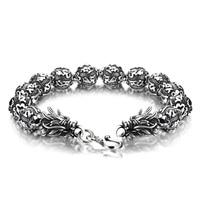 Wholesale European hot sale brand jewelry. Fashion 100% solid 925 silver bracelet for men/boys. Retro Thai Silver Dragon Bangle