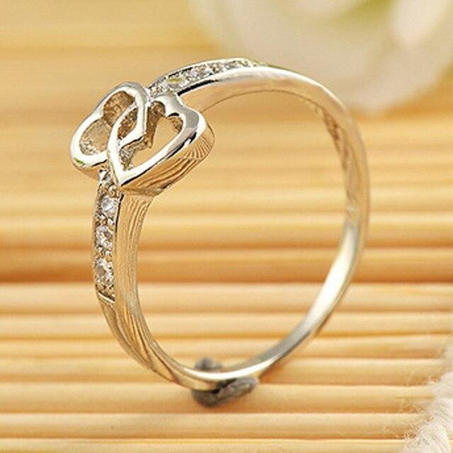 Lady Interlock Heart Ring Crystal Rhinestone Engagement Wedding Band Bridal Jewelry 1pc