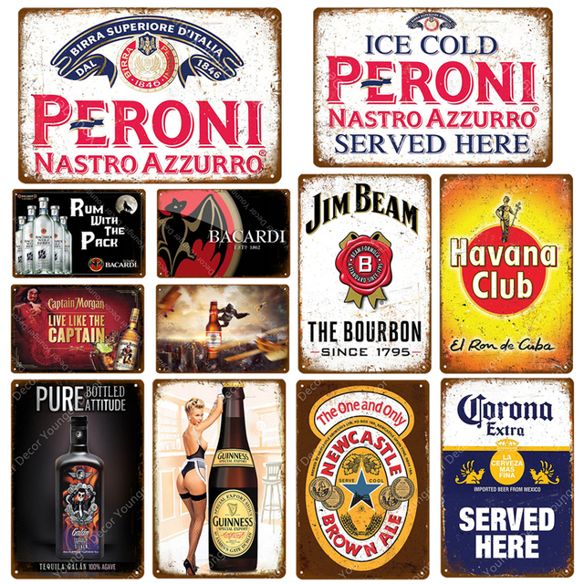 Rượu Rum Với Gói Bia Mảng Bám Peroni Vintage Kim Loại Tín Hiệu Quán Rượu Thanh Sòng Bạc Treo Tường Trang Trí Tấm Whisky Rượu Poster