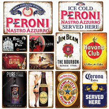 Rum With The Pack Beer Plaque Peroni Vintage Metal Tin Signs Pub Bar Casino Wall Decorative Plates Whiskey Wine Poster(China)