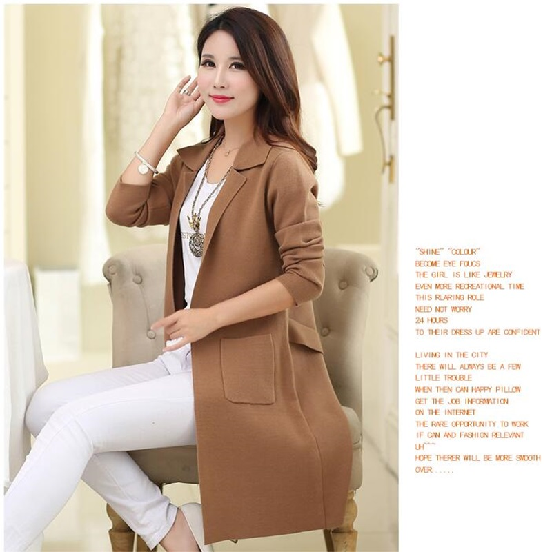 Spring And Autumn New Classic Fashion Sweater Slim Sweater Outside The Long Paragraph Knitting Pure Color Cardigan TB7900