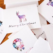 20pcs/lot Colorful Mini Creative Folded Christmas Greeting Card Kids  Gift Cards Merry Thank You