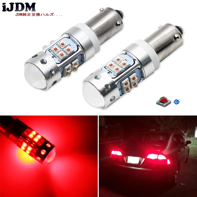 iJDM Brilliant Red H21W <font><b>LED</b></font> Replacement Bulbs For 2012-2015 BMW F30/<font><b>F31</b></font>/F80 3 Series, 2014-up F32/F33/F82 4 Series Brake Lights image