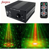 Forpro 3 Lens 48 Patterns Mini Laser Stage Blue LED Projector Light With IR Remote Control Club Bar DJ disco Home Party lights