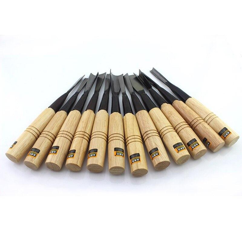 Высокое качество HSS столярные язык 12 шт. дерева плоские зубило Jumper долото деревообрабатывающий бутик инструменты с сумка
